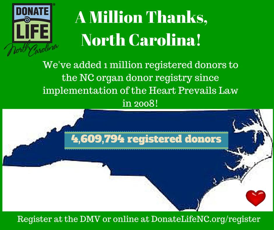 Giving A Million Thanks Donate Life Nc